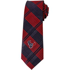 Houston Texans Blue Skinny Plaid Tie