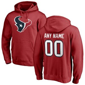 NFL Pro Line Houston Texans Red Personalized Name & Number Logo Pullover Hoodie