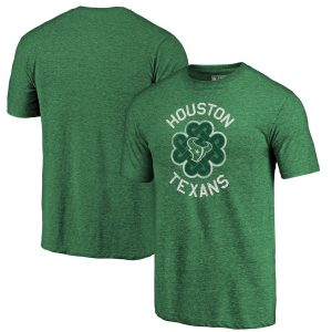 Houston Texans Green St. Patrick's Day Luck Tradition Tri-Blend T-Shirt