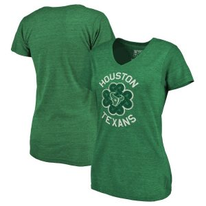 Houston Texans Women's Green St. Patrick's Day Luck Tradition Tri-Blend V-Neck T-Shirt