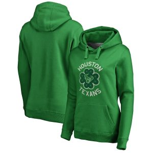 Houston Texans Women's Kelly Green St. Patrick's Day Luck Tradition Pullover Hoodie