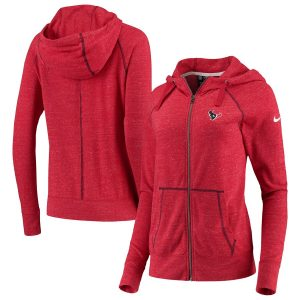 Women's Houston Texans Nike Heathered Red Gym Vintage Raglan Full-Zip Hoodie